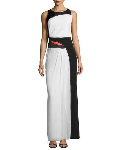 Colorblock Silk/Jacquard Gown