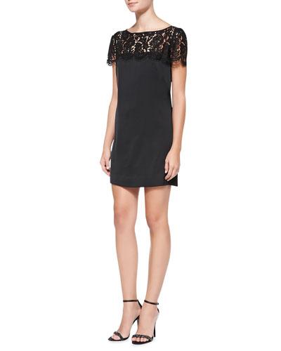 Chelsea Lace-Yoke Shift Dress