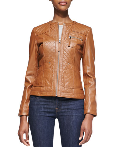 Quilted-Front Leather Jacket