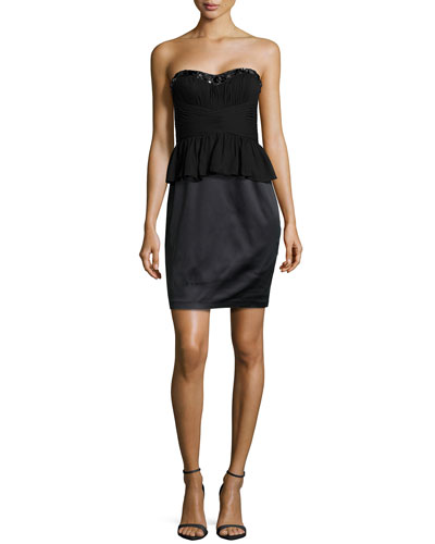 Strapless Bead-Embellished Peplum Dress, Black