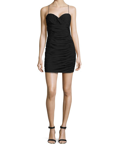 Ruched Chiffon Cocktail Dress, Black