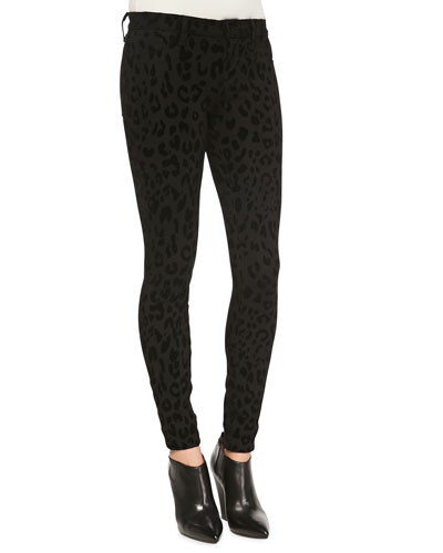 Leopard-Print Ponte Skinny Pants, Black Cat