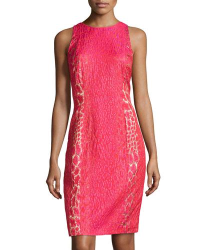 Animal-Print Jacquard Dress