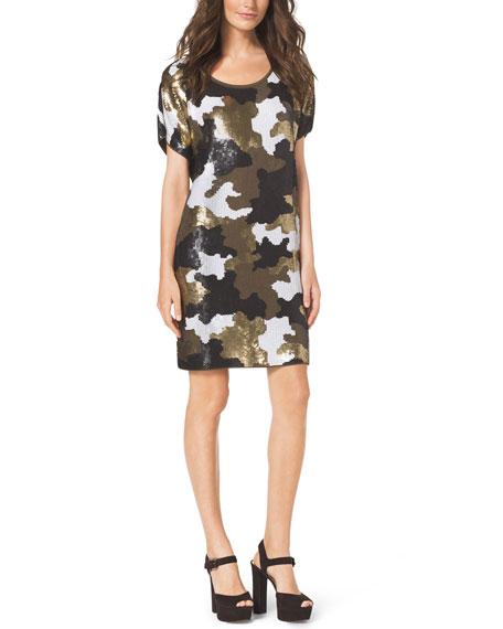 69befd83642 MICHAEL Michael Kors Sequined Camo-Print Dress