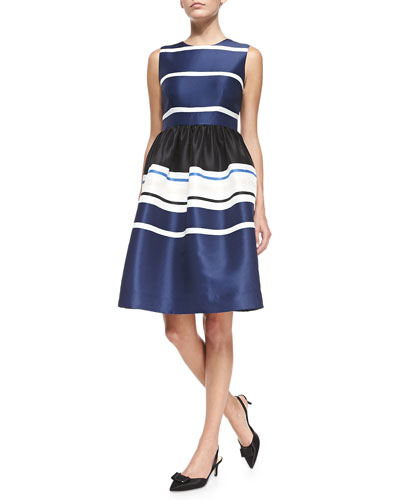 holiday striped fit-and-flare dress