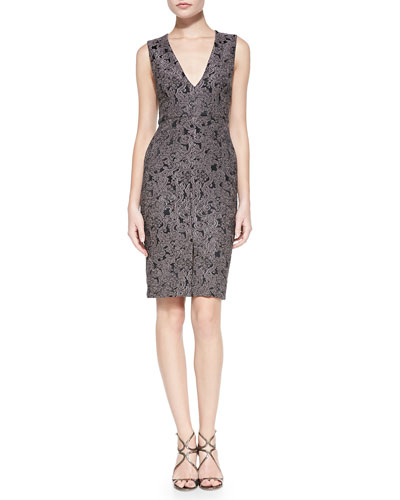 Baylee Embroidered V-Neck Fitted Dress