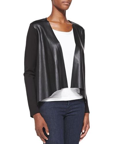 Faux-Leather-Inset Ponte Jacket, Black