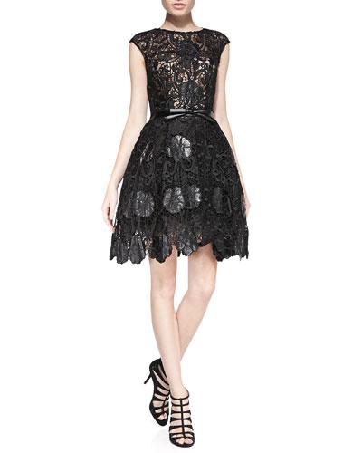 Lace Cocktail Dress w/ Leather Bow Belt