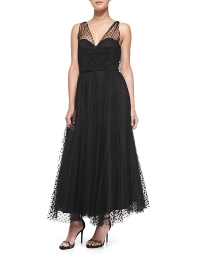 Sleeveless Dotted Tulle Overlay Gown