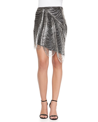 Metal-Fringe Pencil Skirt