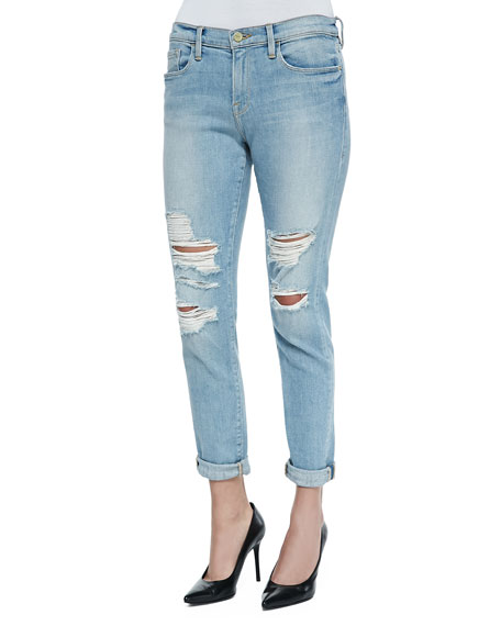 FRAME DENIM Le Garcon Distressed Rolled-Cuffs Jeans, Lucielle