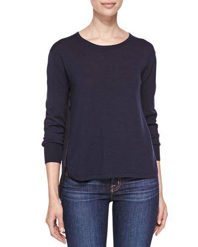 Selita Crewneck Sweater with Contrast Back
