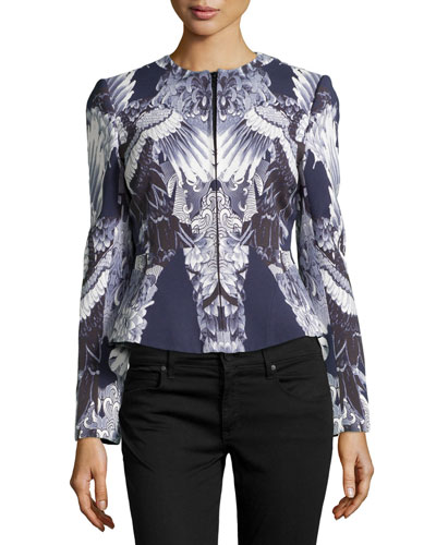 Crane-Print Crepe Jacket, Ink/White