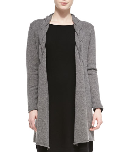 Long Braided Cashmere Cardigan