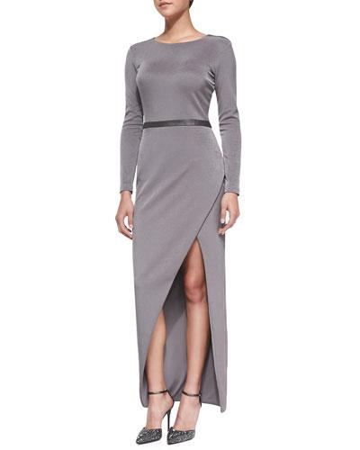 Giselle Long Asymmetric Slit Evening Dress