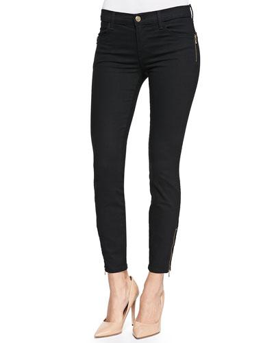 Tali Zipper-Cuff Skinny Jeans, Vanity