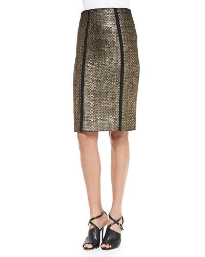 Nita Metallic Tweed Pencil Skirt
