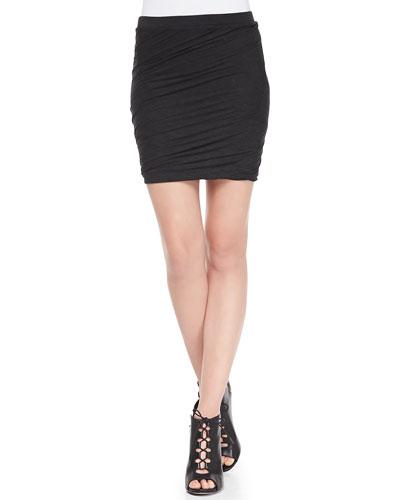 Heather Body-Conscious Twist Skirt, Black