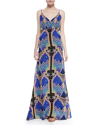 Pyramid-Print V-Neck Maxi Dress