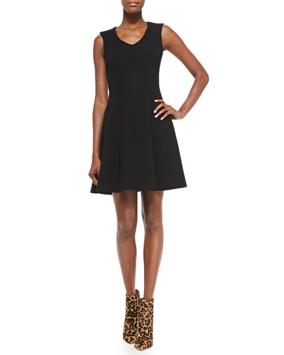 Stretch Ottoman Knit Fit-and-Flare Dress, Black