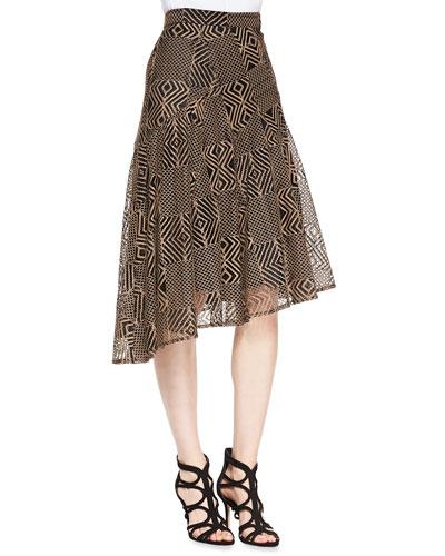 Geometric-Lace A-Line Skirt