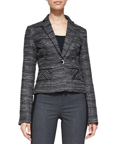 Striped Tweed Fitted Blazer