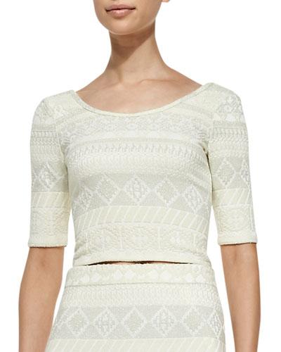 James Pattern-Stripe Tweed Crop Top