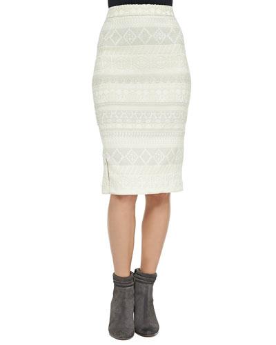 James Pattern-Stripe Tweed Skirt