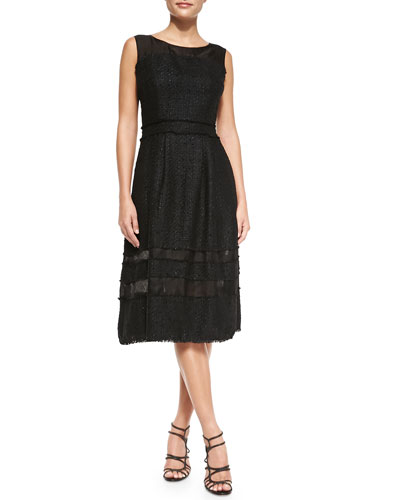 Tweed Fit & Flare Knee-Length Dress
