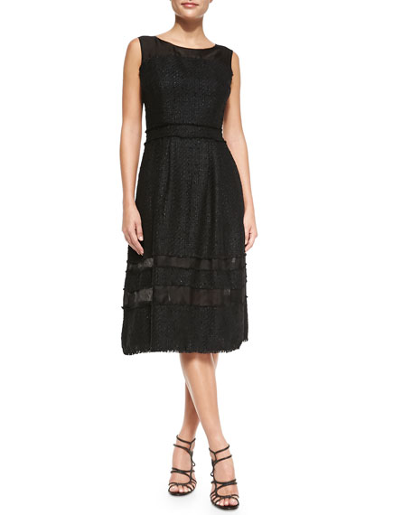ab8bcf4a10d6 Badgley Mischka Tweed Fit & Flare Knee-Length Dress