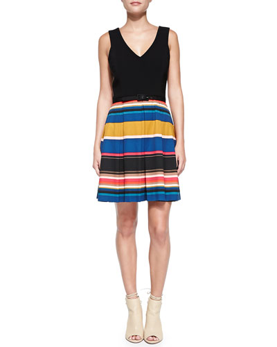 Martha Belted Stripe-Skirt Dress