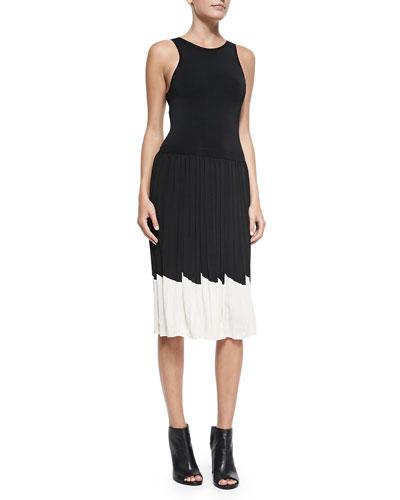 Karolyn Pleated Contrast-Hem Dress
