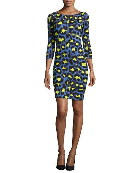 a8c7c187a902a Just Cavalli Leopard-Print Jersey Sheath Dress, Bluette