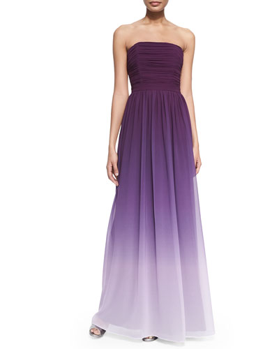 Isabelle Strapless Ruched Ombre Gown, Violet