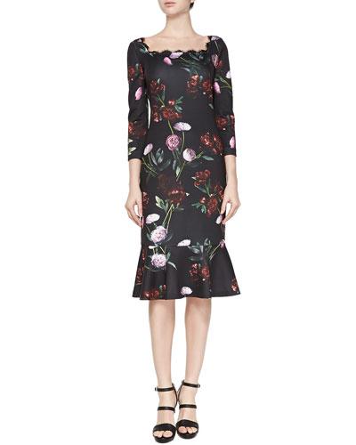 Ava Peony-Print 3/4-Sleeve Flounce Dress