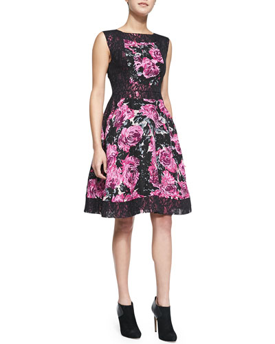 Sleeveless Floral-Print & Lace Fit-&-Flare Dress