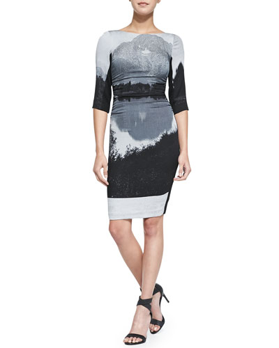 Landscape Printed Slim Jersey Dress