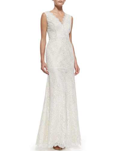Odette Sleeveless Tiered Lace Gown