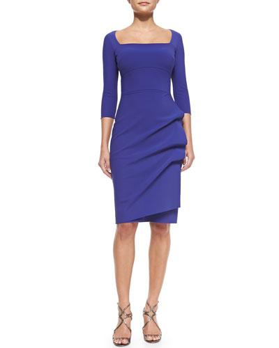 Amy 3/4-Sleeve Sheath Dress, Purple