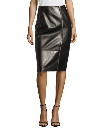 Plonge Leather Zip-Front Pencil Skirt, Black