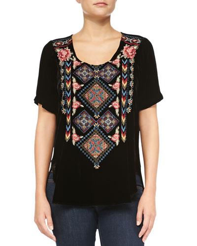 Jody Embroidered Velvet Tee, Women's