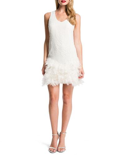 Hattie Feather-Hem Dress, Porcelain