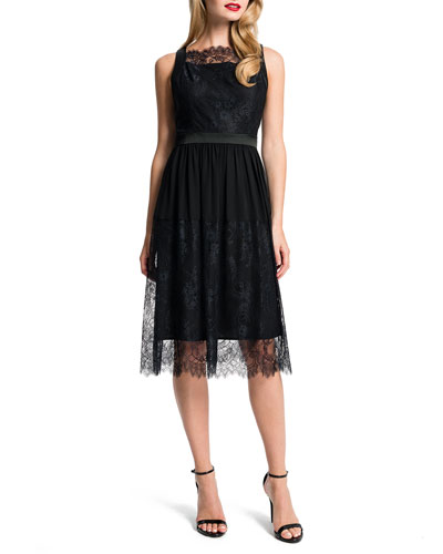 Aria Satin-Banded Lace Dress, Black