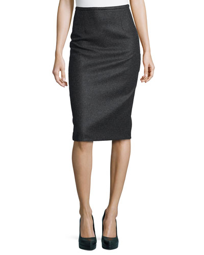Felted Wool Pencil Skirt, Charcoal