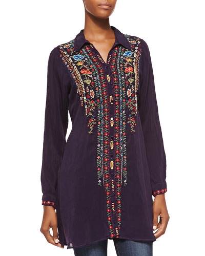 Eli Embroidered Long Tunic, Women's