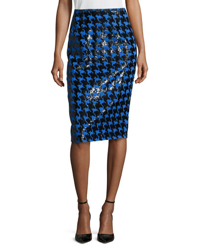 Houndstooth Jacquard Paillette Pencil Skirt, Black/Royal