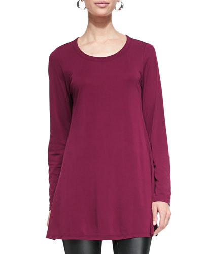 Silk Jersey Long-Sleeve Tunic, Rumberry