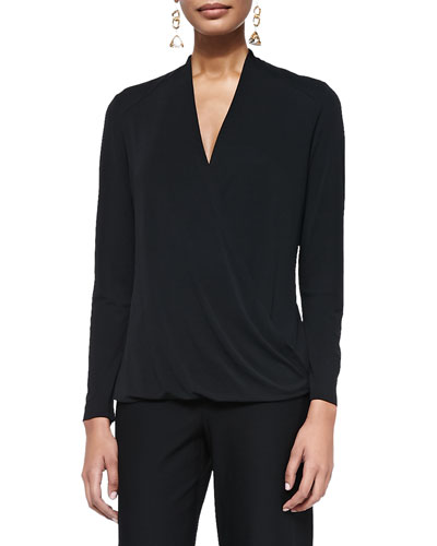 Wrapped & Draped Long-Sleeve Silk Top, Black, Women's