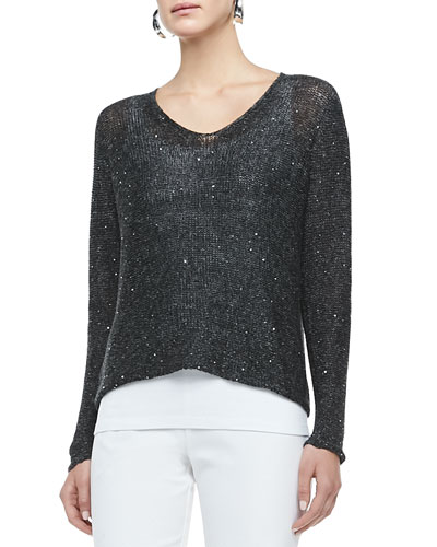 Chainmail V-Neck Box Top, Charcoal, Petite