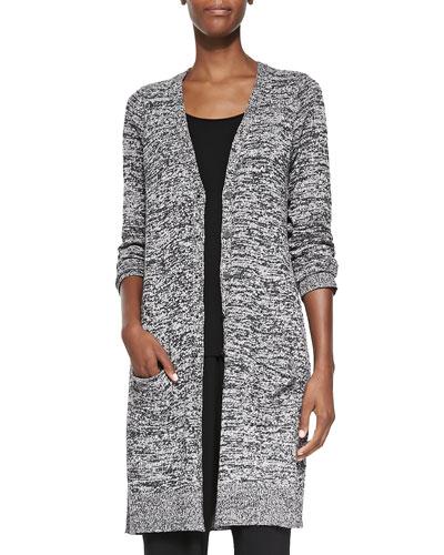 Silk Twist V-Neck Long Cardigan, Women's